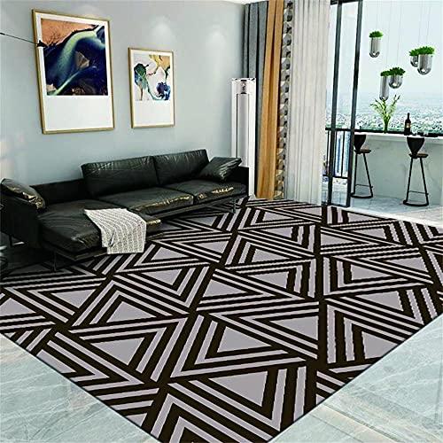 Alfombra Habitacion Decoracion Hogar Moderno Salon Negro Gris 3D estéreo triángulo patrón Moderno Simple diseño geométrico diseño Alfombras De Habitacion Pequeñas 180X280cm