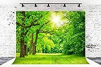 7フィート x 5フィート スプリンググリーンリーフ マイクロファイバー 写真背景 フォトブース スタジオ ウェディングパーティー 撮影用背景幕 小道具