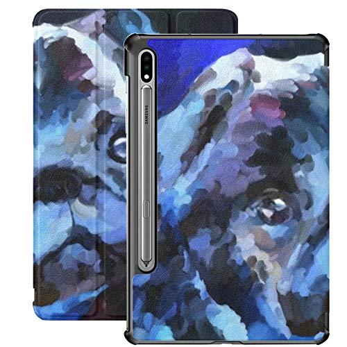 Funda Galaxy Tablet S7 Plus de 12,4 Pulgadas 2020 con Soporte para bolígrafo S, Pintura al óleo, Retrato, Cachorro de Barro Amasado, Funda Protectora Azul con Soporte Delgado para Samsung