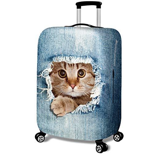 Fundas para Maletas - Patrón de Gato 3D - Look de Jeans - Cubierta de Protector Equipaje con Cremallera,Cat in Jeans 1,M (21-24 Pulgada)