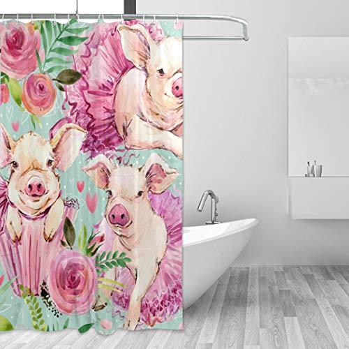 SENNSEE Funny Animal Cute Schweine Duschvorhang 152,4x 182,9cm Badewanne Vorhänge für Badezimmer Dekorativ mit Haken Schimmelresistent Wasserdicht, Polyester