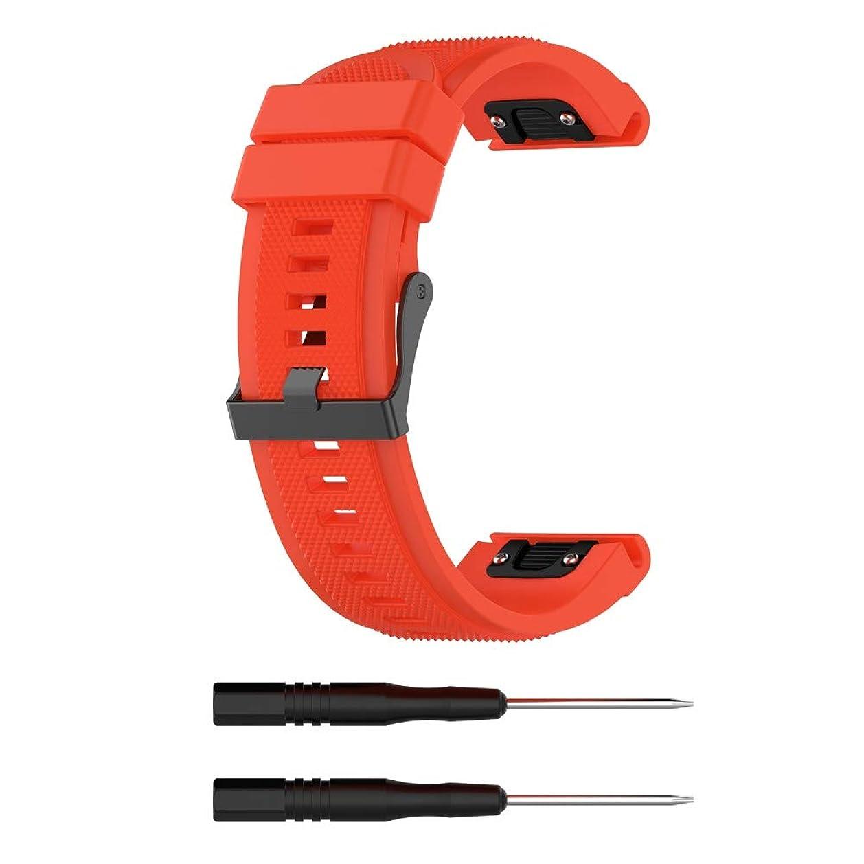 航空便癒す用語集スマートウォッチ Garmin Fenix 6X 5X Puls 3 HR用26mm交換用シリコンリストバンドウォッチストラップ[Orange/26mm]