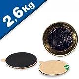 20 x Scheibenmagnet selbstklebend 3M - Ø 22 x 1 mm, Neodym N35 - hält 2,6 kg - 20 Stück - Magnetscheiben - starke Rundmagnete (Supermagnete) mit extremer Haftkraft für Industrie und Zuhause