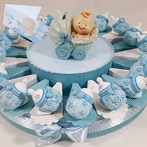 Torta bomboniere Nascita Maschio biberon Inclusi Confetti e bigliettini (Torta biberon Celeste)