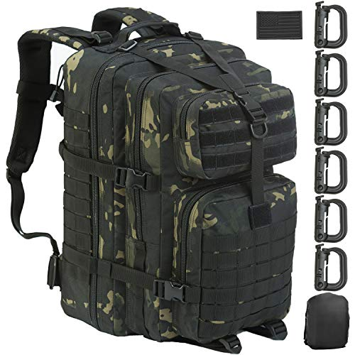 GZ XINXING Large Military Tactical Backpack Army 3 Day Assault Pack Molle Bag Backpacks Rucksacks (Black multicam)
