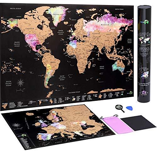 Weltkarte zum Rubbeln + Rubbelkarte Europa | detaillierte rubbel weltkarte zum freirubbeln im Nebel Aquarell | Landkarte zum rubbeln mit Zubehör-Kit und Geschenk-Tube