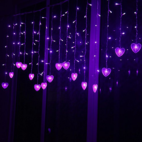 Lainin Multi-color 4M 96 LEDS 18P Hearts Love Shape LED String Curtain Light For Christmas Wedding Party Decoration Chandelier (Purple)