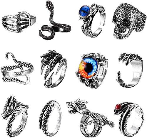 LOLIAS 12-18 Pcs Mens Rings Vintage Punk Rings Octopus Dragon Snake Punk Ring for Women Men Adjustable Cool Gothic Ring Set Jewelry Gift for Men