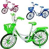 alles-meine.de GmbH 3 Stück _ große - Fahrräder / Bike - E-Bike mit Korb - bunt - 18 cm - stabiles Metall - Modell Maßstab: 1:10 - Deko & Spielen - Dekofahrrad - für Kinder & Erw.. -