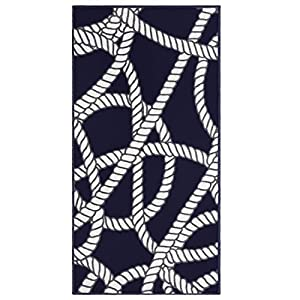 Evolur Home Belmar Nautical Nursery Rug 55″x31.5″in Navy with White