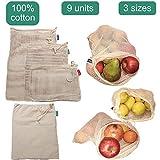 Greenful Planet Bolsas Reutilizables Premium de Algodón Orgánico. Bolsas de Malla Lavables y Transpirables para Almacenar Frutas y Verduras. 9 Unidades.