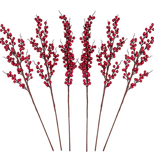Greentime 6 Pcs Artificial Berry Stems Fake 25.2 Inches Christmas Red Berries Faux Holly Berries Branches for Christmas Wreath Holiday Home Decor