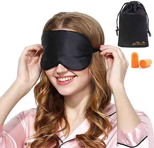 Viedouce Schlafmaske Seide Augenmaske,100% Hautfreundlich Seide Schlafmaske Frauen und Herren, Angenehme Schlafmaske,Ideal für Schlaf zu Hause und Auf Reisen (Schwarz)