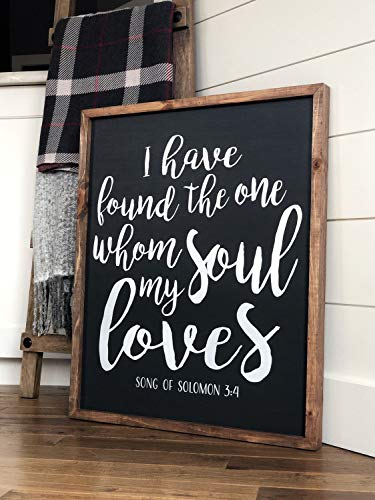 Ced454sy I have find the one whom my soul loves Modern Farmhouse - Cartel de madera con texto en inglés