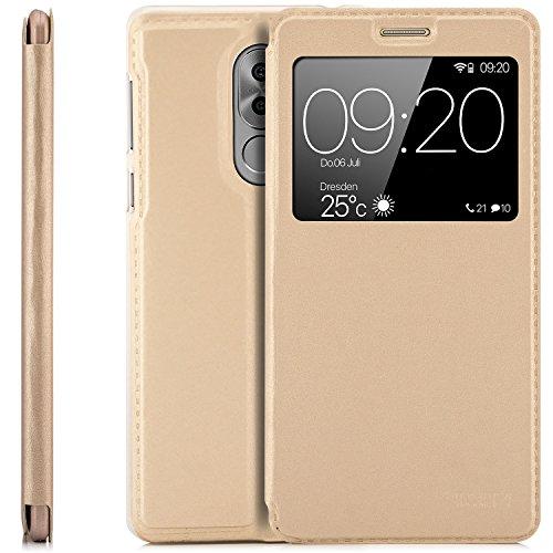 zanasta Tasche kompatibel mit Huawei Honor 6X / GR5 2017 Hülle Schutzhülle Flip View Cover mit Fenster & Kameraschutz | Gold
