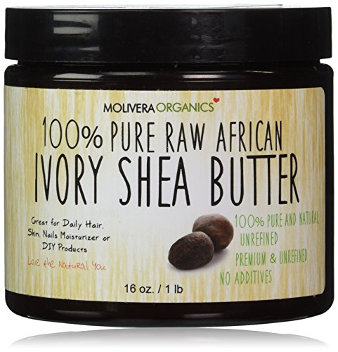 Molivera Organics Raw African Organic Grade A Ivory Shea Butter for Natural Skin Care, Hair...