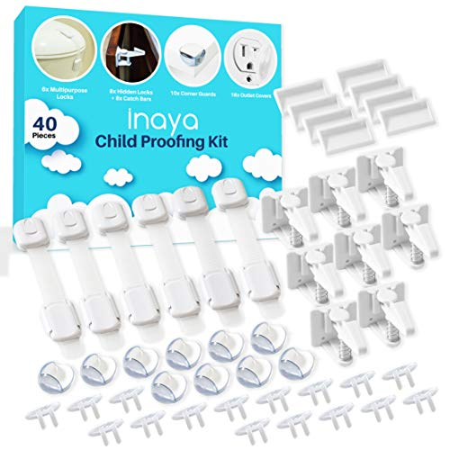 Complete Baby Proofing Kit - Child Safety Hidden Locks for Cabinets & Drawers, Adjustable Safety Latches, Corner Guards and Outlet Covers - Baby Proof Pack to Keep Your Child Safe at Home