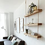 HANNUN - Estantería colgante Makemba de madera maciza artesanal - Estantería para pared - 3 baldas, 70x14x5,5 cm - Color Olivo