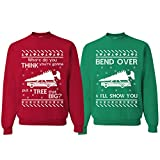Tree That Big Bend Over   Christmas Vacation Couples Matching Ugly Christmas Sweater, Tree Red S Bend Over Green L