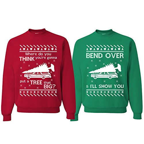 Tree That Big Bend Over | Christmas Vacation Couples Matching Ugly Christmas Sweater, Tree Red S Bend Over Green L