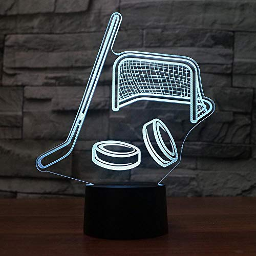 Wangzhongjie 3D Eishockey Modellierung Led Nachtlicht Usb Touch Switch Tischlampe 7 Farben Raumdekor Led Schlafbeleuchtung Für Sport Kinder Geschenk
