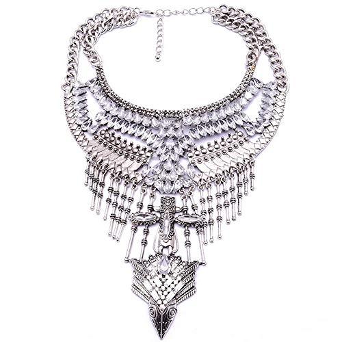 YAZILIND exagerado Collar de Lujo Rhinestone Cadena de clavícula Larga joyería del Regalo del Partido de Las Mujeres (Plata)