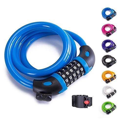 DHTOMC Bike Chain Lock, 5 Chiffres Serrure à Combinaison de vélos Verrouillage réinitialisable Combinaison vélo câble Spirale Serrure for vélo extérieur Xping (Color : Light Blue)