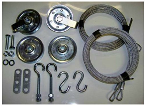 Garage Door Extension Spring Pulley Sheave Kit +SAFETY CABLES & INSTRUCTIONS