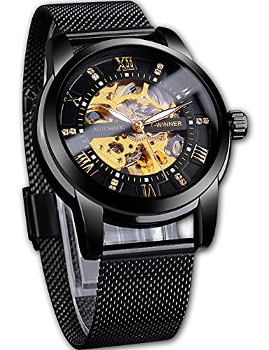 Ganador de moda reloj automático para hombres de lujo diamante luminoso mecánico reloj de pulsera impermeable banda de malla reloj masculino
