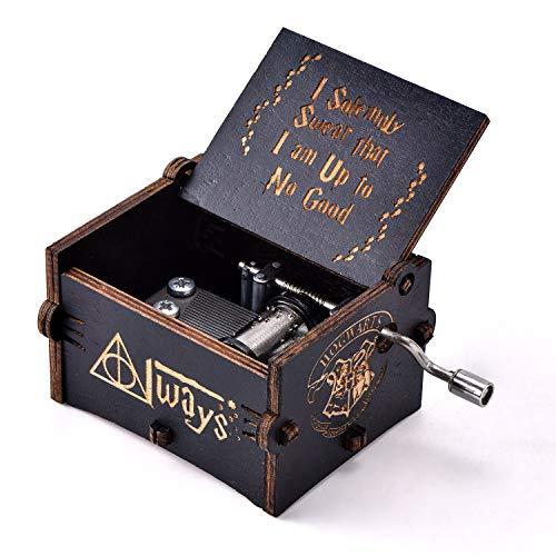 YEUGUI Holz-Spieluhr, Handkurbel, antike Geschnitzte kreative Musikbox, Hochzeit, Valentinstag, Weihnachten, Geburtstag, Schwarz