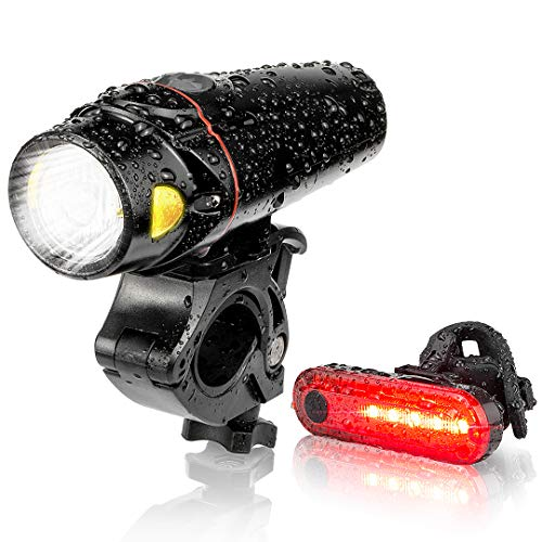 Autobag Bike Light Set, USB Smart Sensor Headlight Waterproof with Free Tail Light Runtime 10+ Hrs Bright Rechargeable Front Lights 350 LM, 4 Light Mode for Fits All Bicycles
