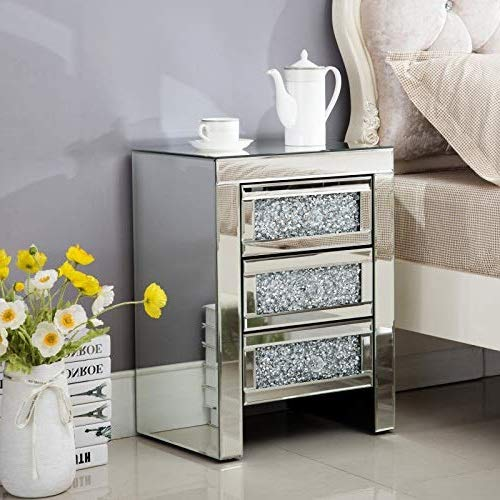Mecor Mirrored End Table 3 Drawers Mirror Accent Side Table Silver Finished Nightstand for Living Room/Bedroom (Crystal Silver)