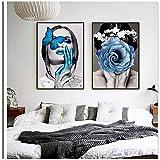 nobrand Bilder auf Leinwand Wandkunst Erwachen Blume Schmetterling Mädchen Ölgemälde Poster Drucken Wandbild Moderne Wohnkultur 40x50cm (15,7x19,7 Zoll) x2 Kein Rahmen