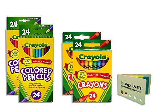 Crayola Crayons 24 Count - 2 Packs Colored Pencils 24 Count - 2 Packs