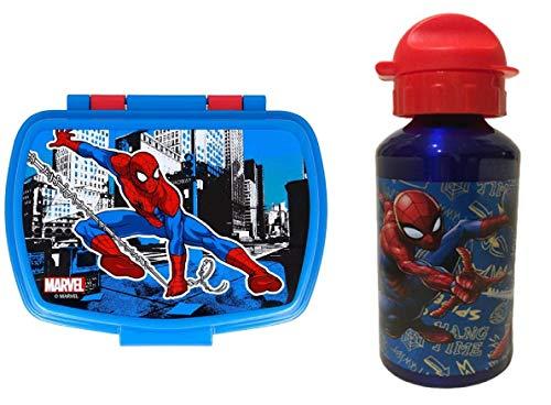Set Botella de Agua de Aluminio Infantil y Fiambrera para Colocar los almuerzos - para niñas, cantimplora a Prueba de Fugas sin BPA 500m AZUL