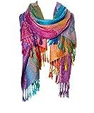 Fashion Women's Silk Scarf Luxury Satin Shawl Wraps (Purple)