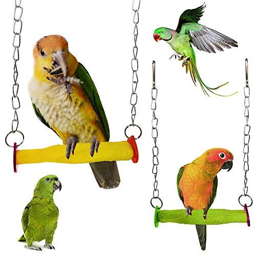 LEUM SHOP Haustier Vogel Papagei Klettern Barsch Schaukel hängenKäfig Hängematte Dekor Molar Kauen Spielzeug Random Color
