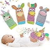 Nannday 【𝐒𝐞𝐦𝐚𝐧𝐚 𝐒𝐚𝐧𝐭𝐚】 Calcetines Suaves de sonajero para bebés, Lindo buscador de pies con Campanas para bebés de 0 a 2 años(1)