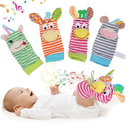 Nannday Calcetines Suaves de sonajero para bebés, Lindo buscador de pies con Campanas para bebés de 0 a 2 años(1)