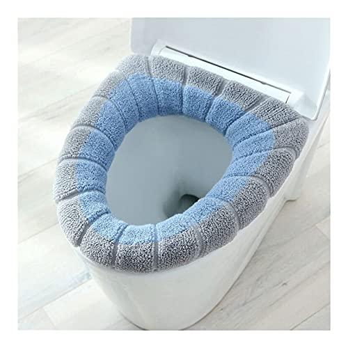 1 pedazo de cálido patrón de calabaza Cojín de inodoro Baño de dos colores Punto en forma de O Decoración for el hogar Tapa de asiento de inodoro Accesorio 1PC (Color : Gray blue)