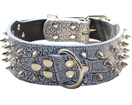 Haoyueer Collar de perro de cuero con clavos con tachuelas de bala de 5 pulgadas de ancho elegantes collares de perro para perros medianos y grandes Pitbull тАж (L, gris)