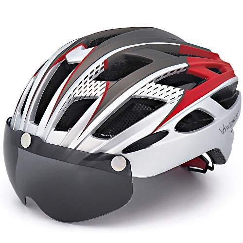 VICTGOAL Casco Bici con Visiera Magnetica Casco da Ciclismo Unisex per Bici da Corsa All'aperto Sicurezza Sportiva Casco da Bicicletta Superleggero Regolabile 57-61 cm (Argento)