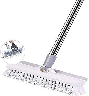 Floor Scrub Brush with Adjustable Long Handle,Floor Scrub Brush Stainless Steel Handle 50 in Stiff & Soft Brush, 2 in 1 Sc...