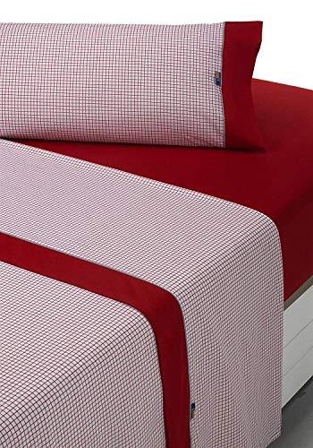 SABANALIA - Juego de sábanas Estampadas Combo (Disponible en Varios tamaños y Colores), Cama 135, Rojo