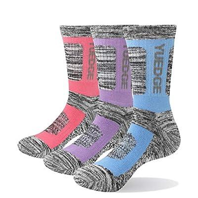 YUEDGE Women's Wicking Cotton Cushion Crew Socks Outdoor Sports Trekking Walking Hiking Socks(3 Pairs L)