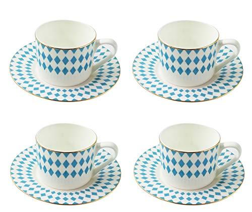LA VITA VIVA 4er Set Exklusive Designer Kaffee- und Teetassen Bavaria mit Untertasse hellblau/Weiss mit Goldrand