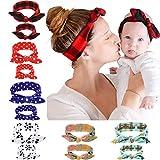 Mutter und ich Turban Stirnband, elastische Kaninchenohren Kopfwickel Säuglingshaarband, Mode Baby und Mama Baumwolle Kopfwickel, Top geknotete Baby Mädchen Kopfwickel Sätze von 6