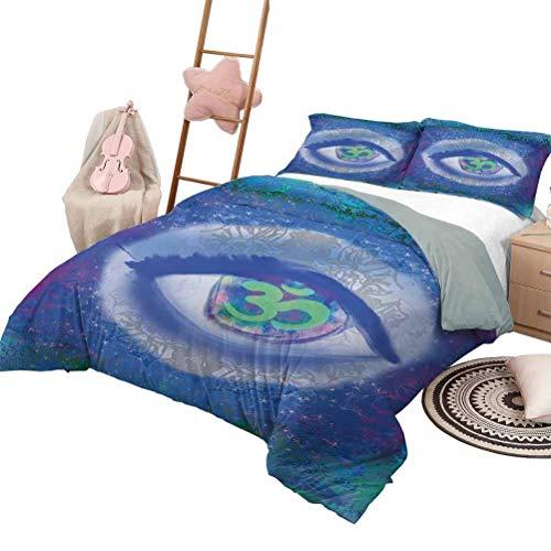 DayDayFun Quilt Set for Kids Eye Smooth Soft Quilt Mystical Sign Third Eye Motifs Wisdom Zen Chakra Enlightenment Queen Size Blue Mint Green Purple