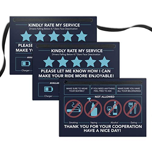 Rating Tip Accessories Driver Sign - (SET OF 3 Signs - NOT Double Sided) - 4x6 - Thick Laminated Large Rate Me Sign - Premium Gift for Car Driver - Interior Headrest No Smoking 5 Star Tipping