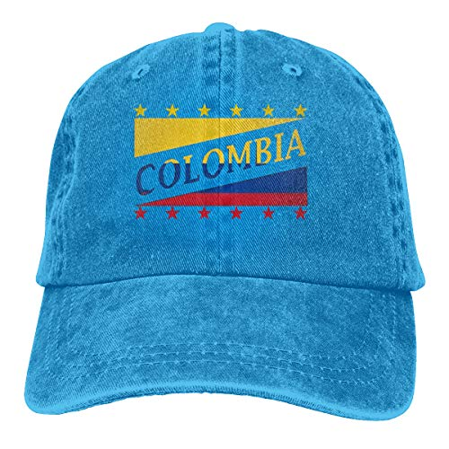 Osmykqe New Colombia Flag Football World Cup Denim Blue Washed Cotton Adjustable Twill Low Profile Plain Unisex Hüte